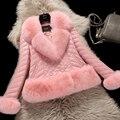Плюс Размер Женщины Зима Искусственного Меха Лисы Пальто Роскошный Кожаный PU куртка С Большой Меховой Воротник Женщин Жилет Fourrure манто femme Розовый