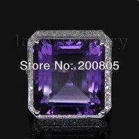 Винтаж Princess 12 мм твердого 14Kt из белого золота с бриллиантами аметистовое кольцо WU100