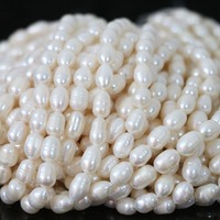 Fashion White Freshwater Natural Pearl Beads Top Quality Rice Charms Elegant Diy Women Gift Jewelry 15inch