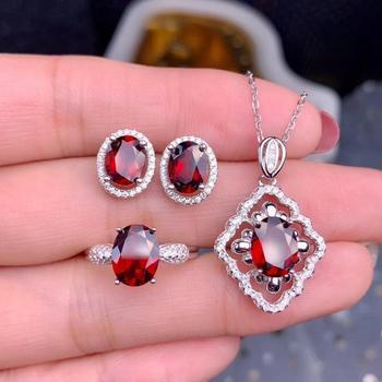 Набор украшений с серебряным и красным натуральным драгоценным камнем, кольцо и сережки в форме граната с галстуком бабочкой, подарок для д
