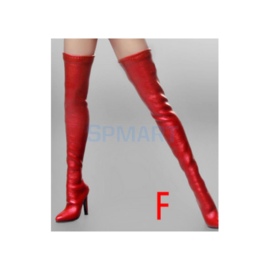 """1//6 Scale Over-the-knee Leather Boots For 12/"""" PHICEN Hot Toys Female Figure USA"""
