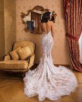 Очаровательная в стиле Русалочки без спины Свадебные платья 2019 Кружево Бисер перо блеск Холтер Сексуальная Турция robe de mariée