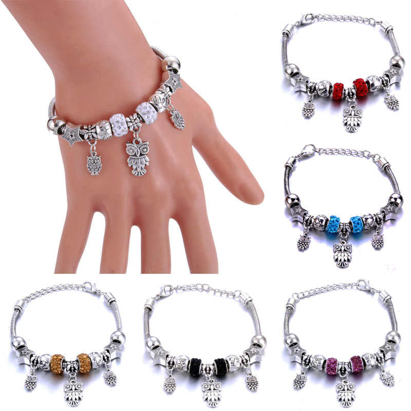 Antique Original Heart-Shaped Owl Charm Bracelets For Women Glass Beads Brand Bracelet & Bangle DIY Jewelry Gifts