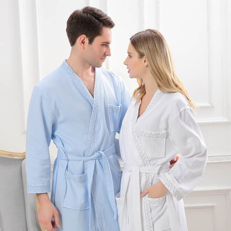 Waffle cotton bathrobes women night robes long kimono robe home dressing gown long sleeve pink wedding robes white blue