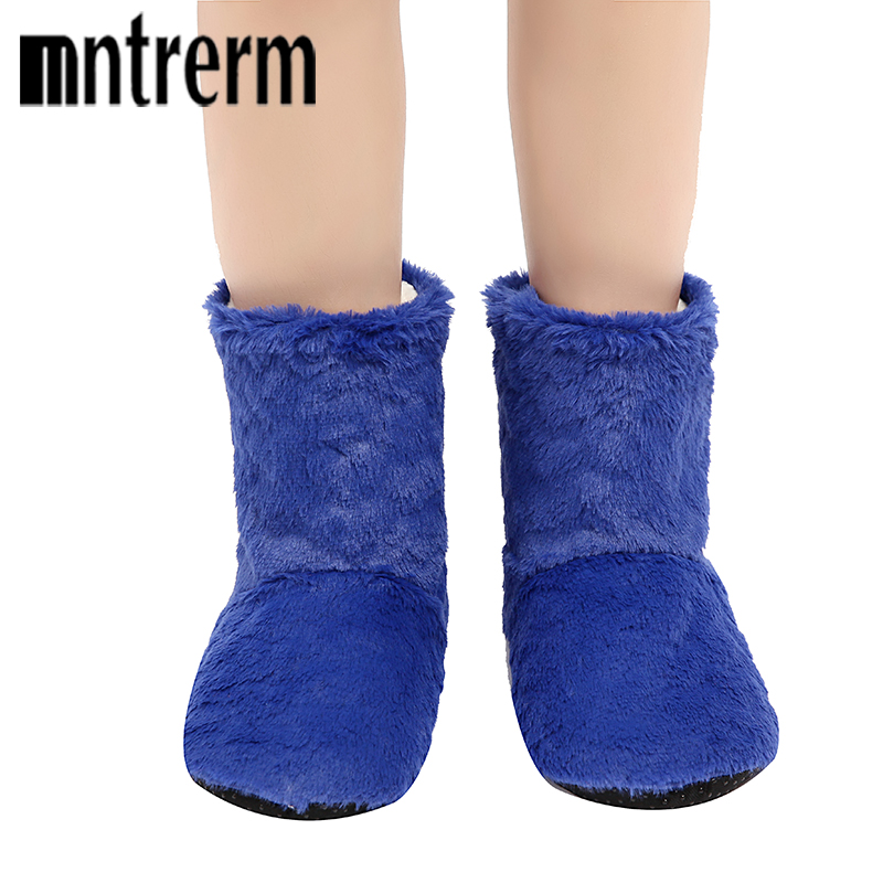 Mntrerm 2018 Long tube Slippers Cotton slipper Women Winter Warm Home Rabbit Hair Shoes Winter Soft bottom Indoor Plush Slippers