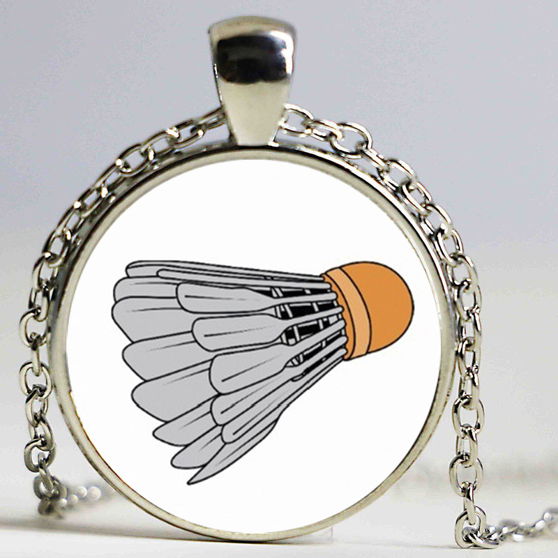 vintage photo jewelry fashion Badminton casual sports glass cabochon necklace pendant for men women sports lover charms gifts