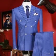 Мужские костюмы со штанами двубортные Новое поступление приталенный мужской костюм летняя одежда для жениха синий полосатый Блейзер брюки 3xl плюс
