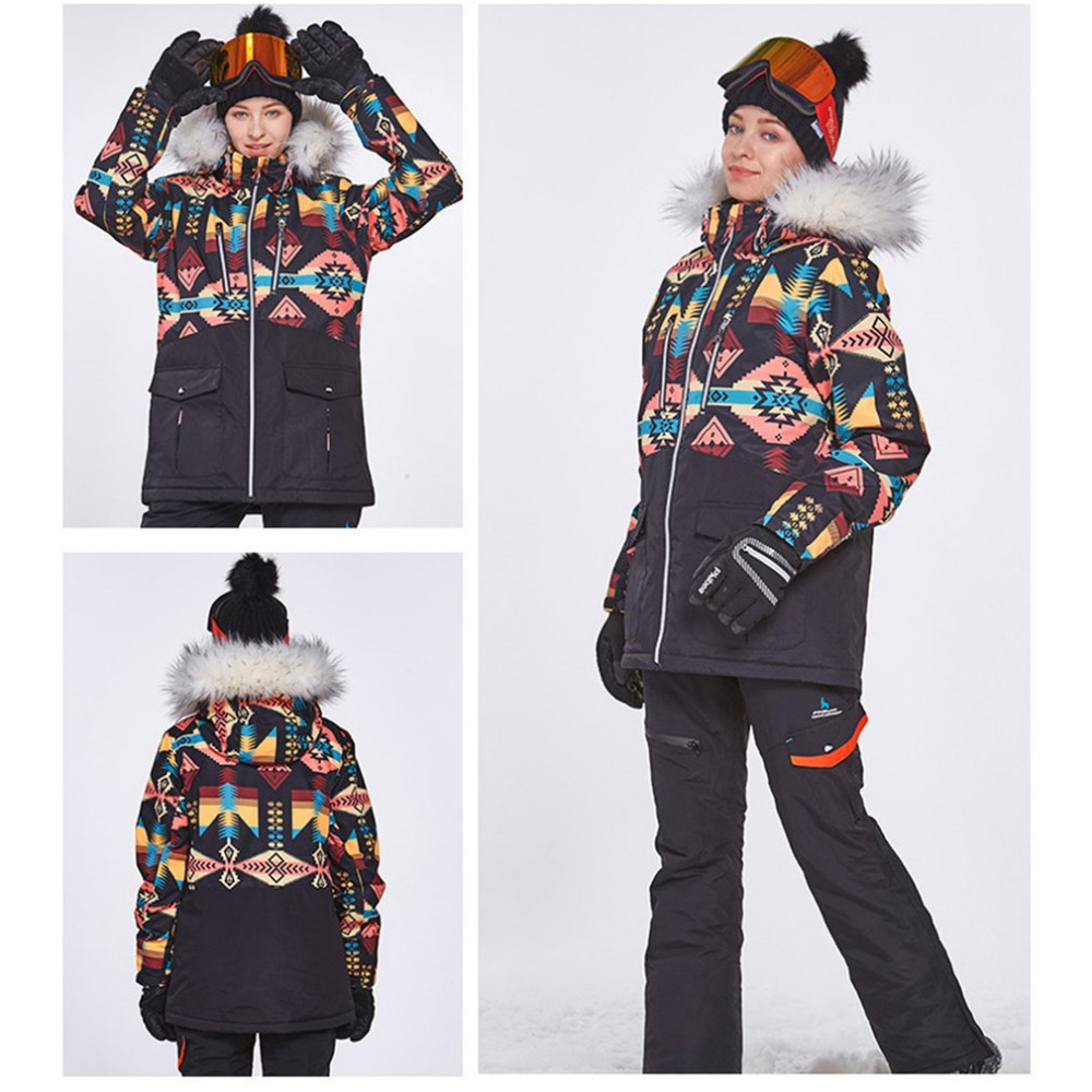 Phibee S-XL Winter Adult Ski Suit Thick Waterproof Outdoor Clothing Family Windbreak Jackets Plaid Snow Wear Drop Shipping