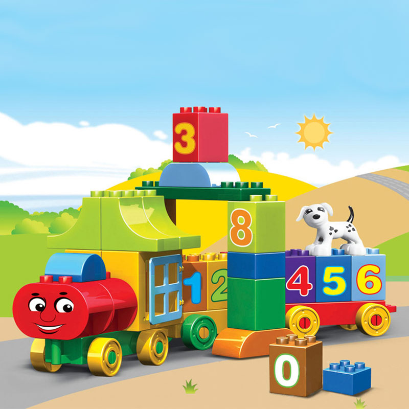 Learning Education Toys For Children Digital Jigsaw Number Train Crafts Building Blocks For Kids With Original Box wooden magnetic tangram jigsaw montessori educational toys magnets board number toys wood puzzle jigsaw for children kids w234