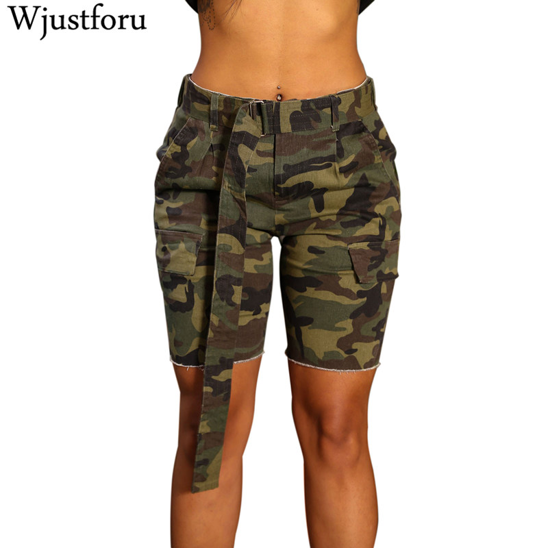 Wjustforu Classic Camouflage   Shorts   Women Bodycon Bandage   Shorts   Female Summer Military High Quality Workout   Shorts   Knee-Length