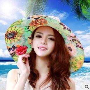 2016 ala de mezclilla Sombreros mujeres adultas caliente señora a estrenar de plegado de corea marea sombrero de verano visera Uv playa remiendo de la paja femenino