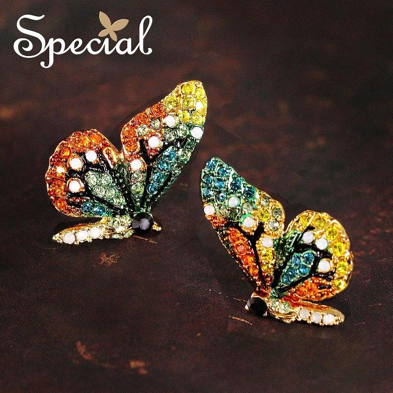 Специальные Новая мода Серьги-гвоздики маленькая бабочка уха Шпильки весна свежий Стиль Стразы 2017 ювелирные подарки для Для женщин s1660e