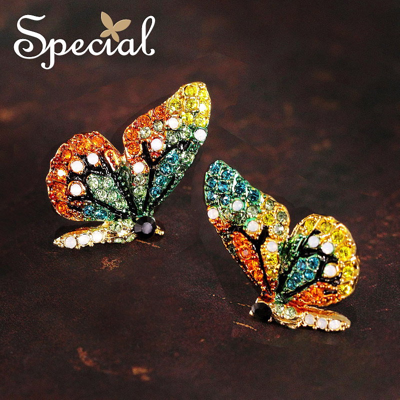 Special New Fashion Stud Earrings Little Butterfly Ear Pins Spring Fresh Style Rhinestones 2017 Jewelry Gifts for Women S1660E