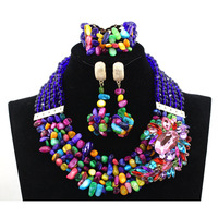2017 Multicolor African Beads Wedding Jewelry Sets Luxury Nigerian Lady Jewelry Set New Item Large Stock Free Shipping hx333