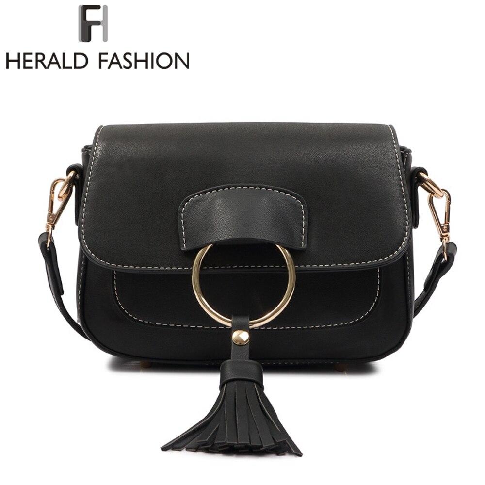 Herald Мода кисточкой седельная сумка Лоскутная Для женщин клапаном сумка из искусственной кожи Crossbody сумка