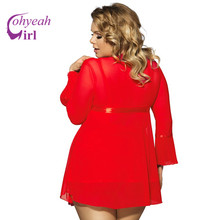 RW80185 White Red 3 Pcs Sexy Lingerie Hot Transparent Mesh Robe Plus Size Underwear Women Nighty Dress Sexy Babydoll Set