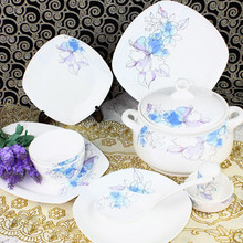 Luxury arts tableware Jingdezhen ceramic avowedly 56pcs/set quality china dinner set square full dinnerare set in
