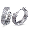 24MM fashion Hoop Earring crystal earrings for girl gold plated w/ AAA CZ wedding party earring body jewerly Free shipment