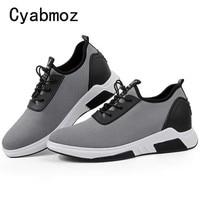 Модные дышащие легкие кроссовки, визуально увеличивающие рост, 7 см, мужская повседневная обувь для взрослых, студенческий тренд для прогул...