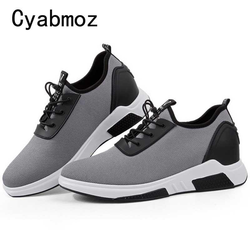 Mode respirant lumière hauteur augmentant 7CM baskets mâle pour hommes chaussures décontractées adulte étudiant marche tendance populaire ascenseur