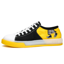 Chic Korean Style Men's Shoes Korean Version Of The Trend Of Casual Shoes Printed Students Canvas Shoes 4#17D50 e lov design printing canvas shoes nation flags of austria hand printed austriak austrian loafers shoes