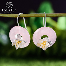 Lotus Fun Real 925 Sterling Silver Natural Stone Creative Handmade Fine Jewelry Lotus Whispers Dangle Earrings for Women Brincos