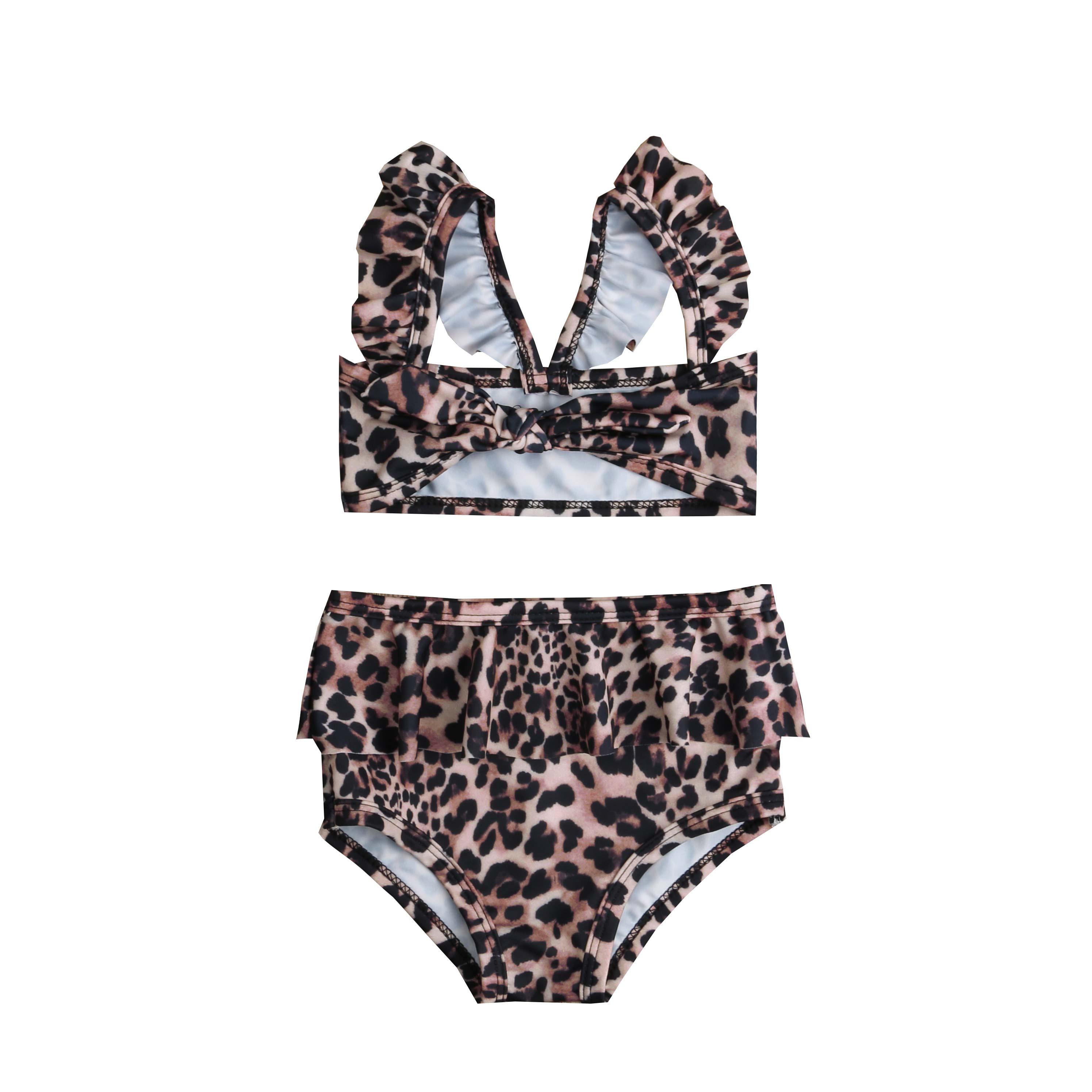 Лидер продаж, комплект из 2 предметов для маленьких девочек, Леопардовый цветочный принт, купальный костюм, бандаж, оборки, детский пляжный л... 15