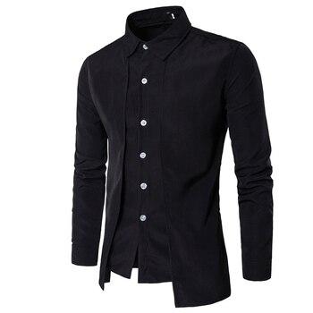 Мужская рубашка с длинным рукавом, мужская повседневная рубашка на молнии, для работы, 2020