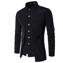 Hot 2017 Fashion Men Gentleman British Long sleeve shirt Evening dress tooling zipper  shirt Male men s casual work shirts