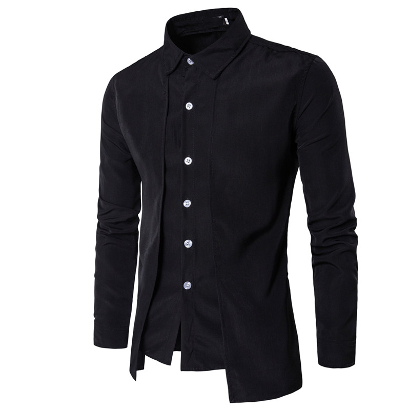 Hot 2019 Fashion Men Gentleman British Long Sleeve Shirt Evening Dress Tooling Zipper  Shirt Male Men S Casual Work Shirts