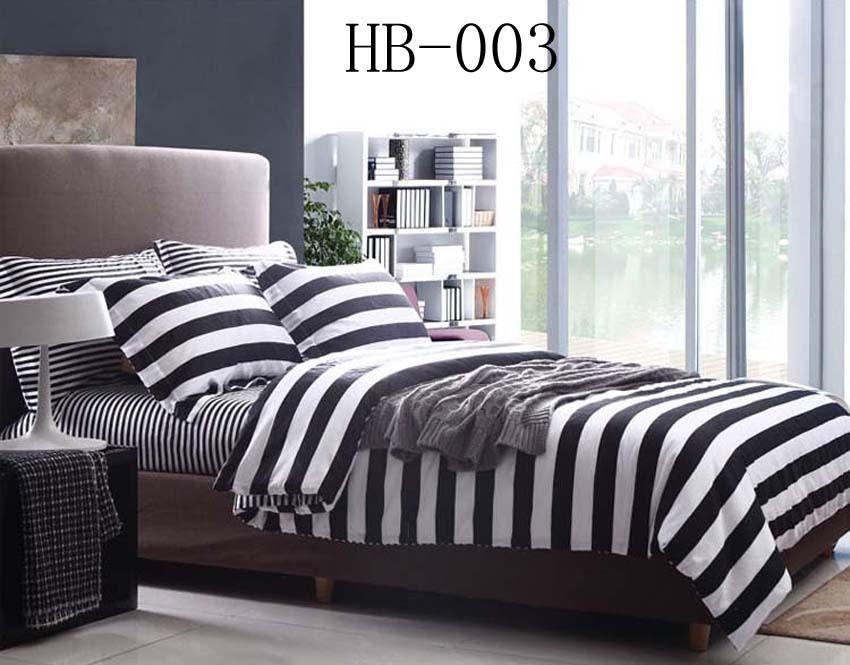 Full Queen Black And White Stripe Cotton 4pcs Bedding Sets
