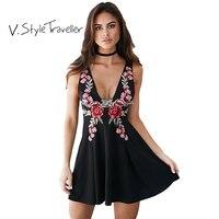 Flower Embroidery Little Black Dress V Neck Women Casual Ukraine Vestido De Festa Cheap Clothes China