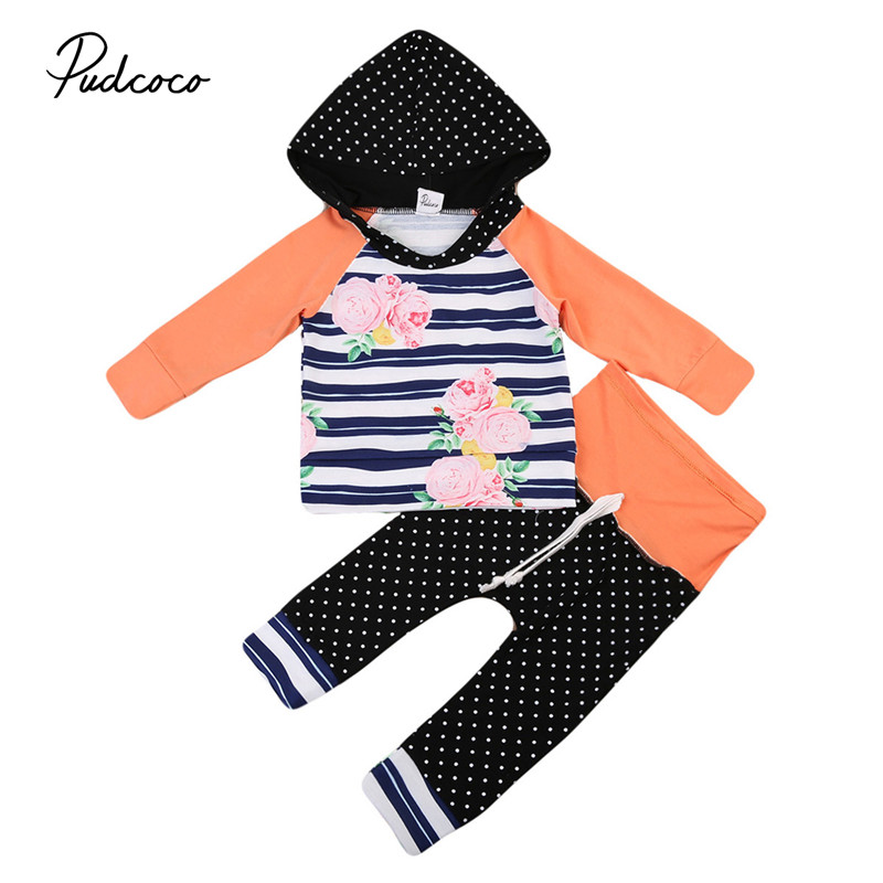6M to 3T Floral Newborn Baby Girls Clothes New Style Long Sleeve Hooded Tops Pants 2pcs Outfits Baby Clothing Set