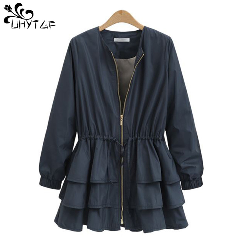 UHYTGF Spring autumn New Women's Clothes 2019   Trench   coat for women Fashion Skirt Plus size Slim Ruffle   Trench   coat loose top115