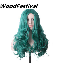 WoodFestival 28 inch Women Bright Blue Green Cosplay Wig Long Curly Synthetic Wigs Heat Resistant women s ladylike long side bang curly cosplay wig