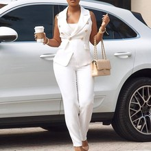 купить Casual White Blazer Women Set Sleeveless Double Breasted Two Piece Set Pockets Bodycon Long Pants Streetwear по цене 1449.82 рублей