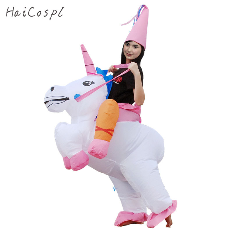 Halloween Inflatable Costume With Hat Pink White Funny Animal Cosplay Women Men Adult Mascot Fancy Waterproof Party Suit