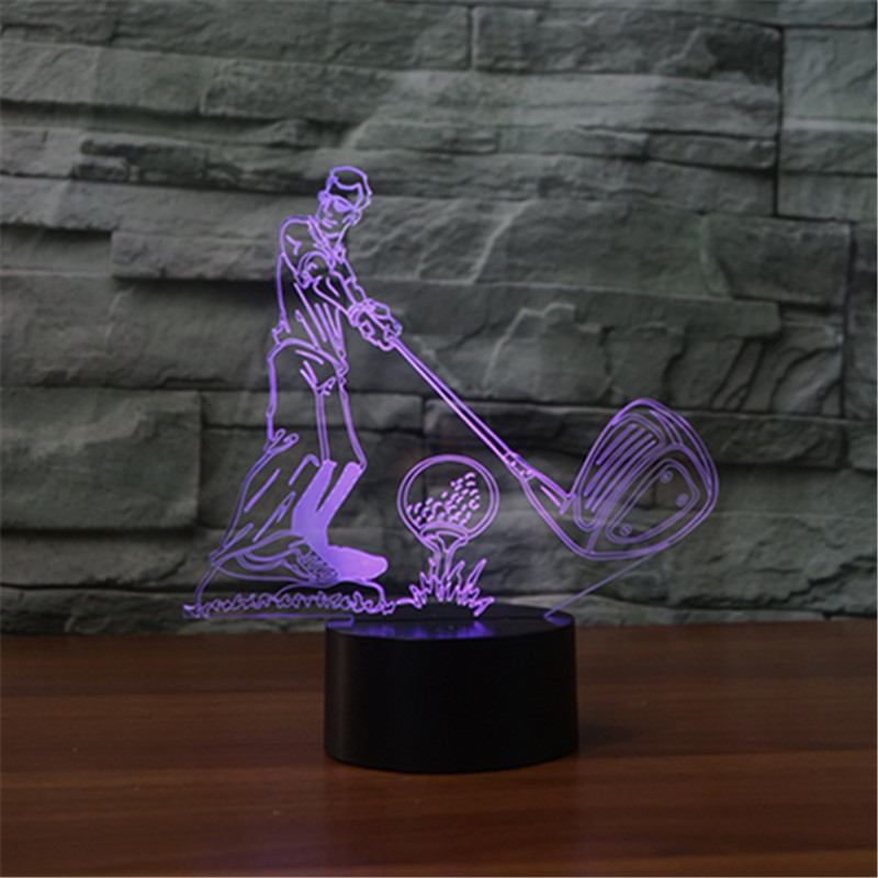 Free shipping New type of golf 3D lamp seven color LED acrylic visual lamp touch illusion lamp decorative USB Christmas gift