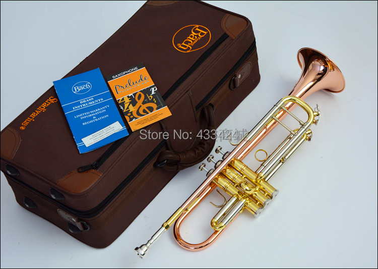 American Bach Original authentic phosphor bronze TR-197GS B flat professional trumpet bell Top musical instruments Brass horn trumpet new bach silver plated body gold key lt190s 85 b flat professional trumpet bell top musical instruments brass