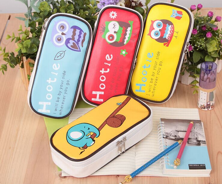 Kawaii Owl pu leather Pencil Case Big capacity zipper pencil bag for kids Stationery office school supplies Escolar Papelaria цена