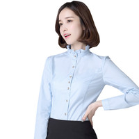 Fmasuth Spring Formal Full Sleeve Blouses Frilled Tie Neck 3XL Plus Size Office Shirts Women Blouses YR PL0489