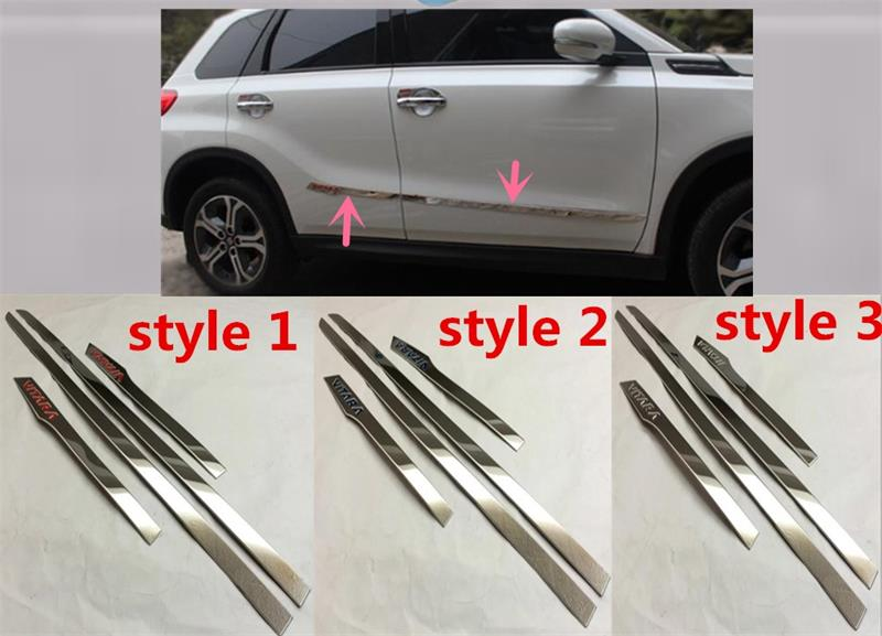 Abaiwai Stainless Steel For Suzuki Vitara 2015 2016 Side Door Body Trim Cover Trims Molding Protector Car-Styling Accessories car styling cover stainless steel side door body trim stick strip molding stream lamp panel plate 4pcs for byd s7 2014 2015 2016