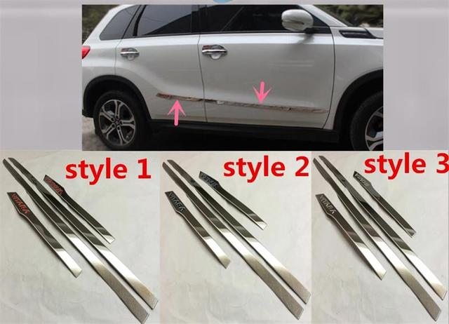 Abaiwai Stainless Steel For Suzuki Vitara 2015 2016 Side Door Body Trim Cover Trims Molding Protector Car-Styling Accessories