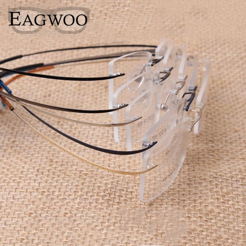 Gafas de titanio puro sin montura flexible marco óptico prescripción gafas sin marco gafas de ojo 010 Line Temple