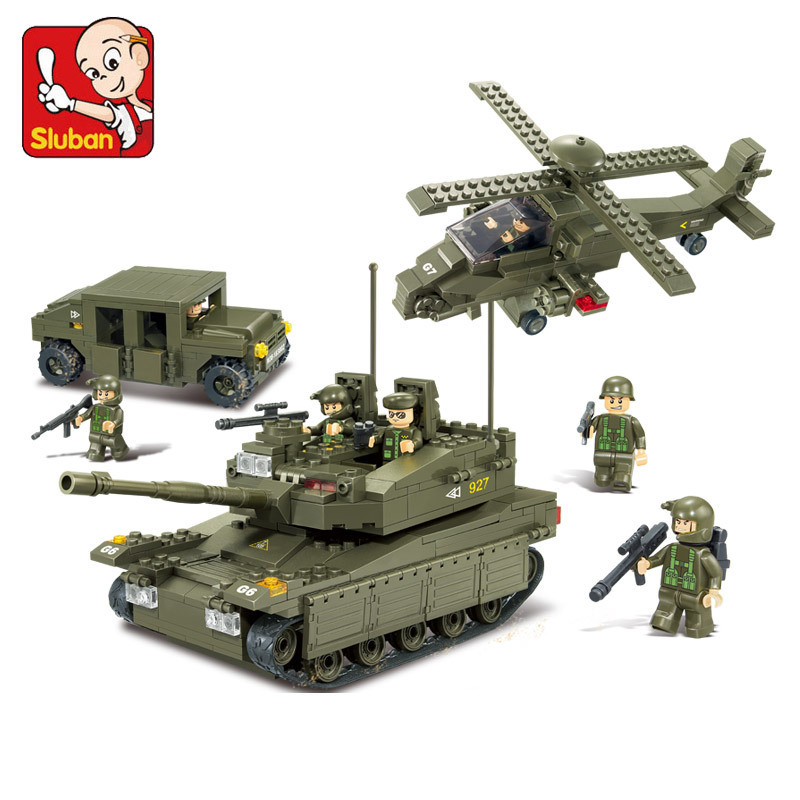 ФОТО Sluban model building kits compatible with lego city army 765 3D blocks Educational model & building toys hobbies for children