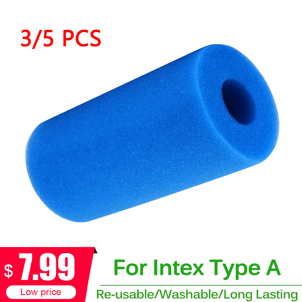 3/5PCS Swimming Pool Accessories Intex Type A Cleaner Foam Filter Sponges Reusable Washable Filter Sponge Cleaning Pool Filter