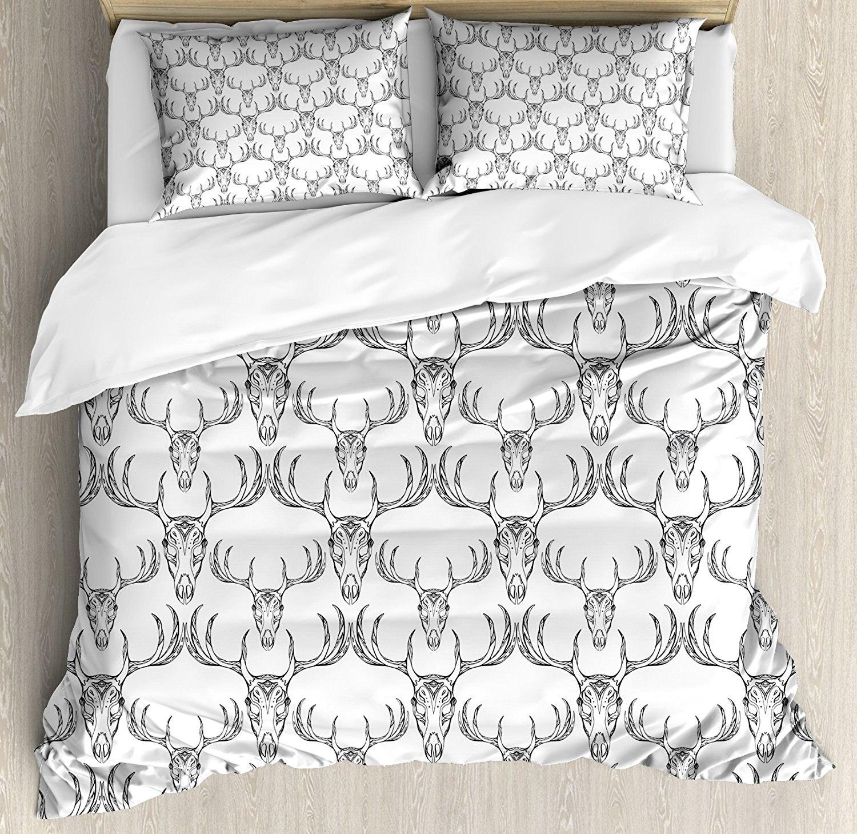 Рога постельное белье богемный Стиль рисованной олень череп с рогами Этнические Племенные художественный каракули 4 шт. Постельное белье