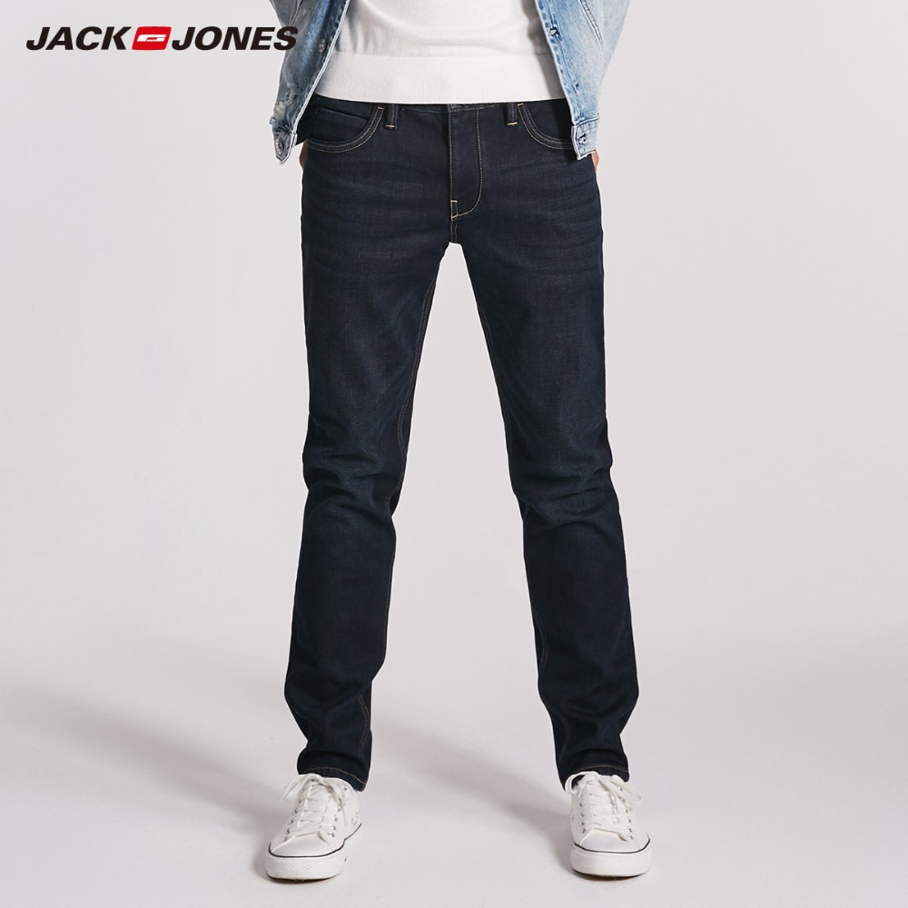 JackJones Men's Winter Slim Fit Brushed   Jeans   Stretch Biker Pants Fashion Classical Denim   Jeans   Men Slim Male   Jeans   |218332536