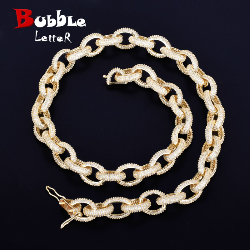 """12mm Iced Heavy Small Punk Choker Bling Cubic Zircon Men's Hip hop Necklace Rock Jewelry Gold Color Chain 18"""" 20"""