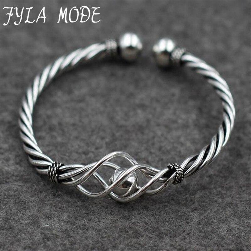 Fyla Mode New Fashion Twisted Thin Hollow 925 Thai Silver Bangles Fashion Jewelry Silver Love Bracelet